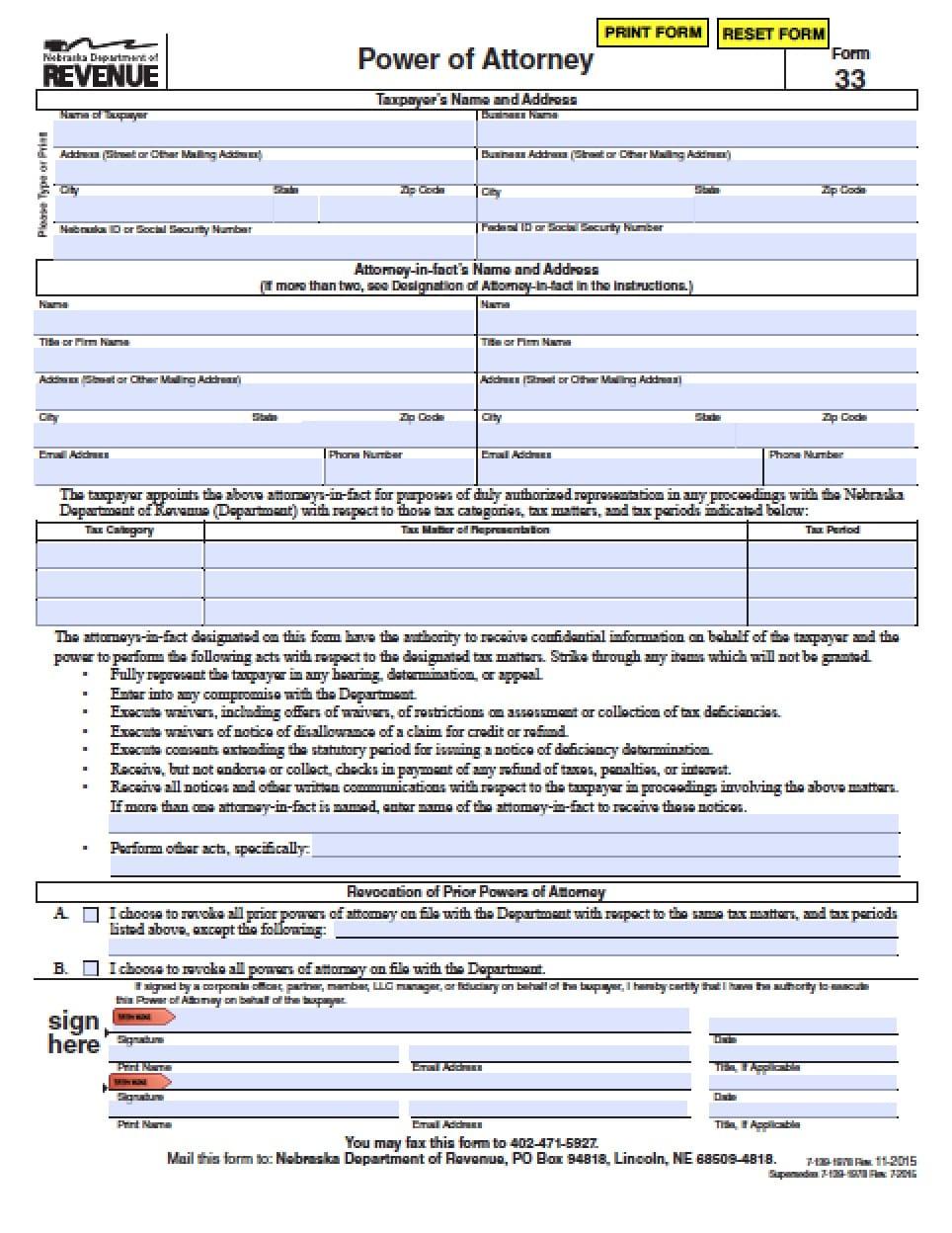 Nebraska Tax Power of Attorney Form - Power of Attorney : Power of ...