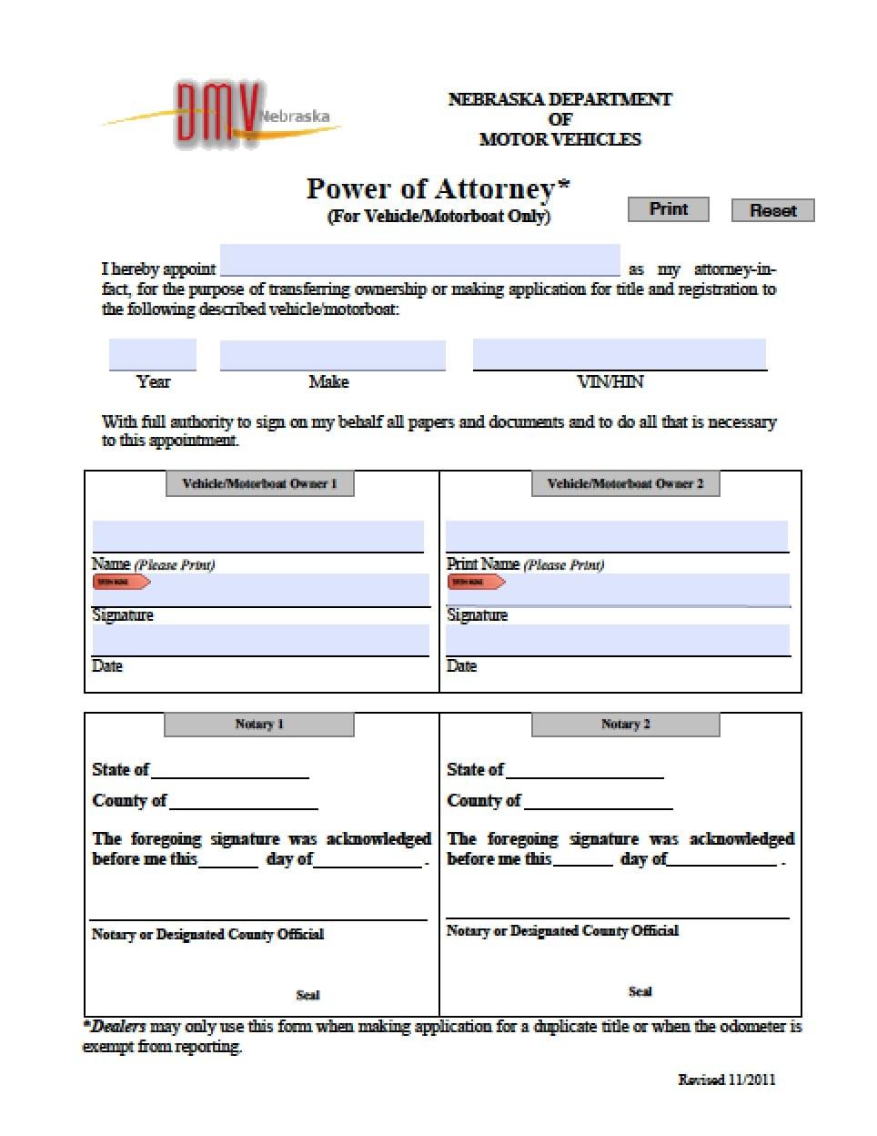 Nebraska Vehicle Power of Attorney Form - Power of Attorney ...