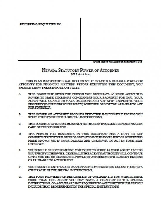 Nevada Durable Financial Power of Attorney Form