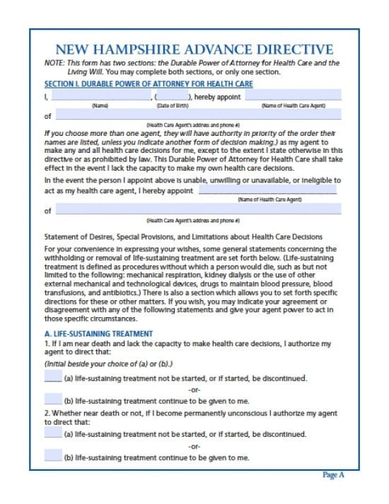 New Hampshire Medical Power of Attorney Form - Power of Attorney ...