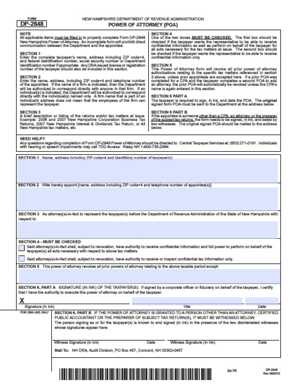 New Hampshire Tax Power of Attorney Form - Power of Attorney ...