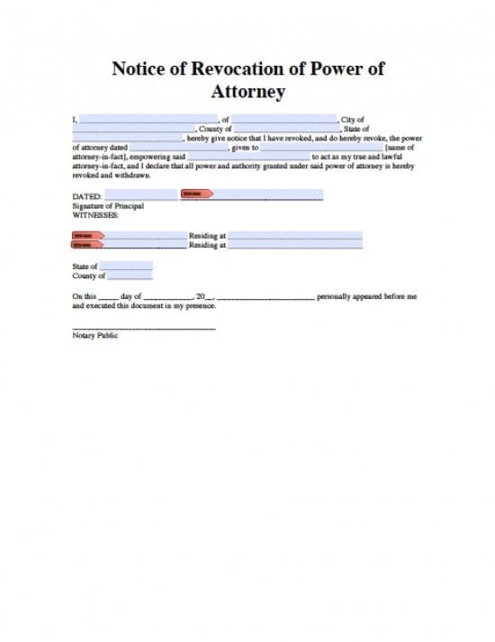 New Jersey Revocation Power of Attorney Form