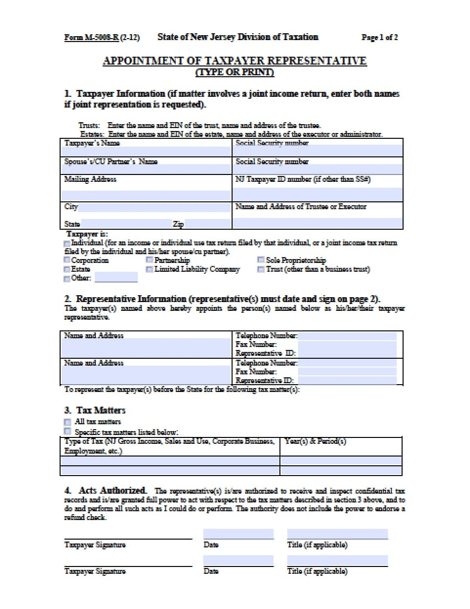New Jersey Vehicle Power of Attorney Form - Power of ...