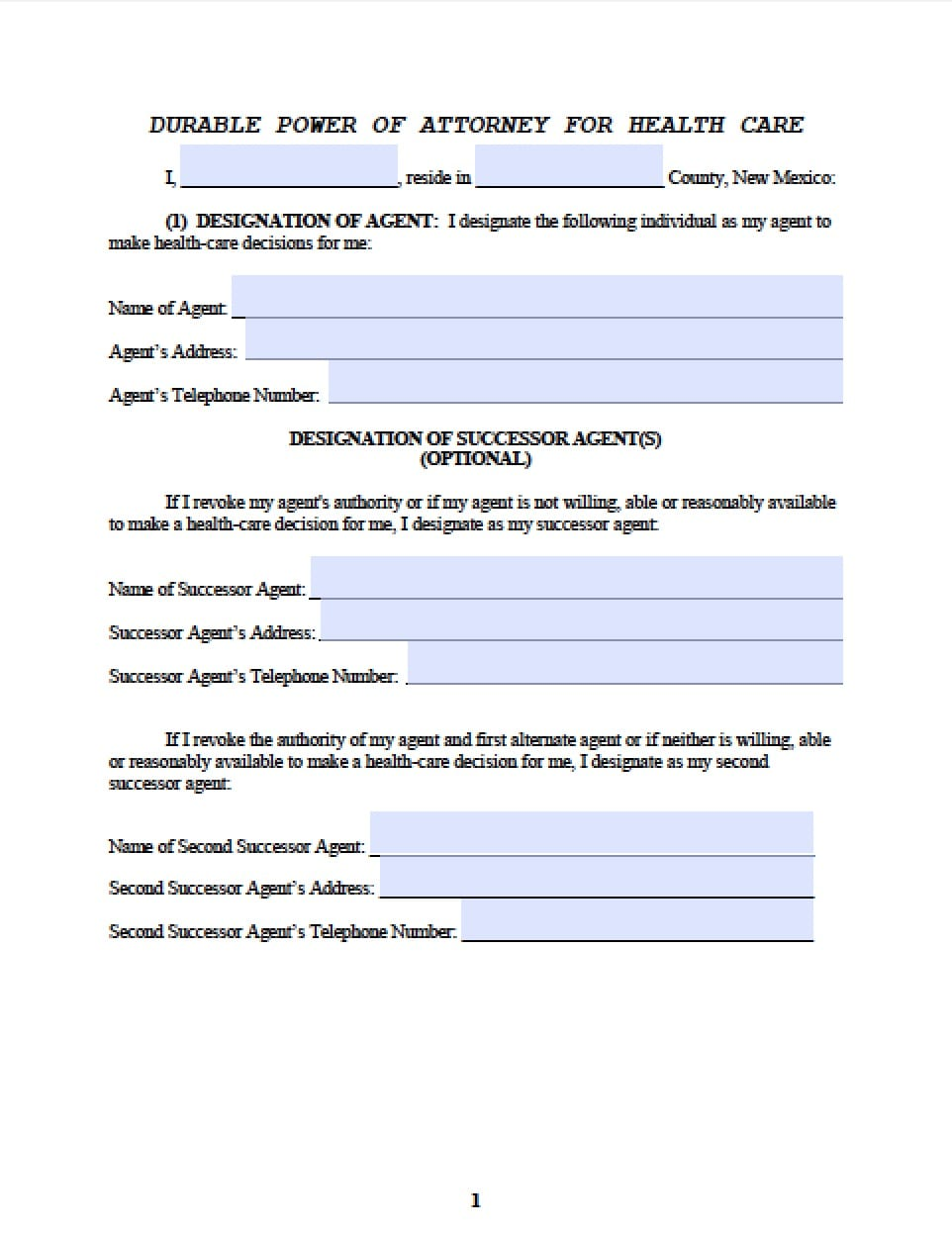 New Mexico Medical Power of Attorney Form Power of Attorney – Medical Power of Attorney Form