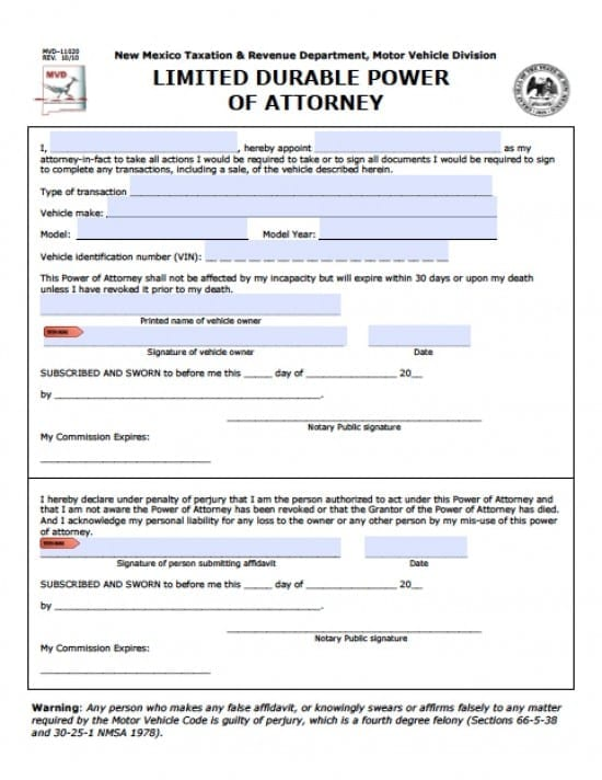 New Mexico Vehicle Power of Attorney Form