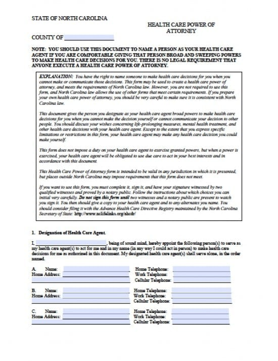 North Carolina Medical Power of Attorney Form