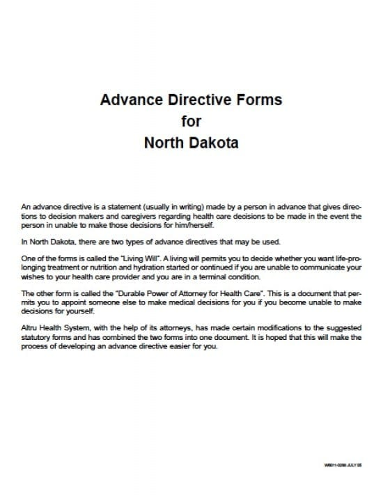 North Dakota Medical Power Of Attorney Form - Power Of Attorney