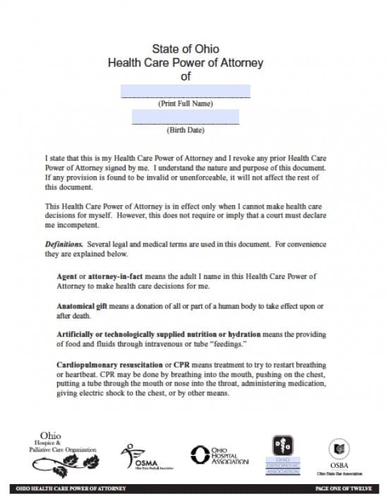 Ohio Medical Power Of Attorney Form - Power Of Attorney : Power Of