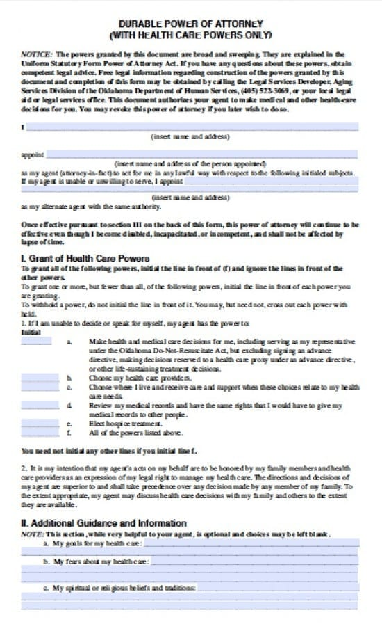 Oklahoma Medical Power Of Attorney Form  Power Of Attorney  Power