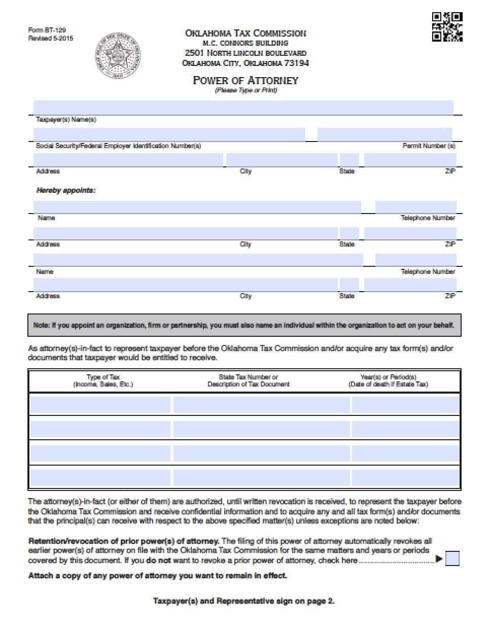 Oklahoma Vehicle Power Of Attorney Form Power Of Attorney
