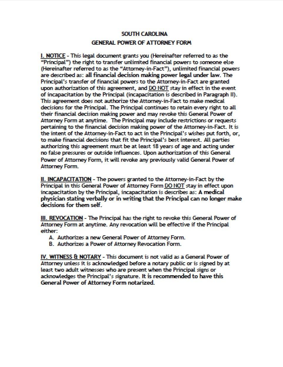 power of attorney form 2019  South Carolina General Financial Power of Attorney Form ...