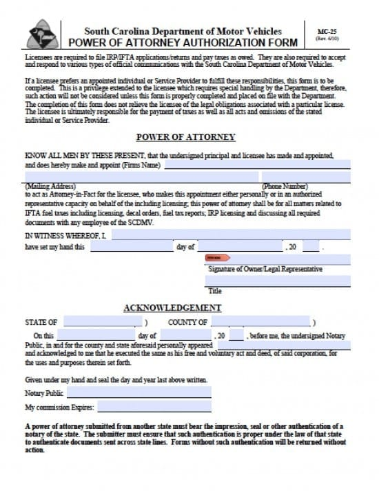South Carolina Vehicle Power Of Attorney Form Power Of Attorney