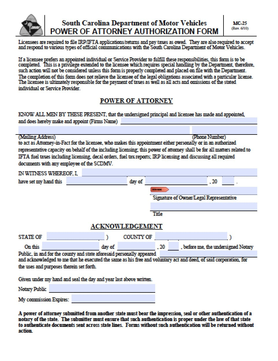 South carolina limited special power of attorney form for Power of attorney for motor vehicle only