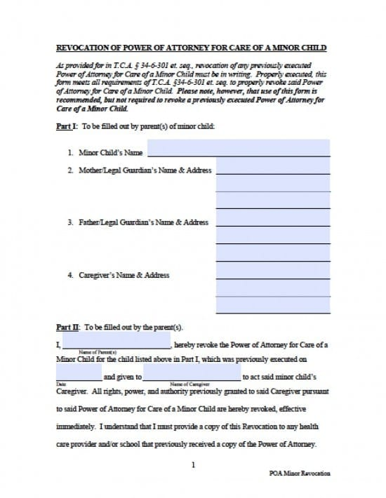 Tennessee Revocation Power of Attorney Form