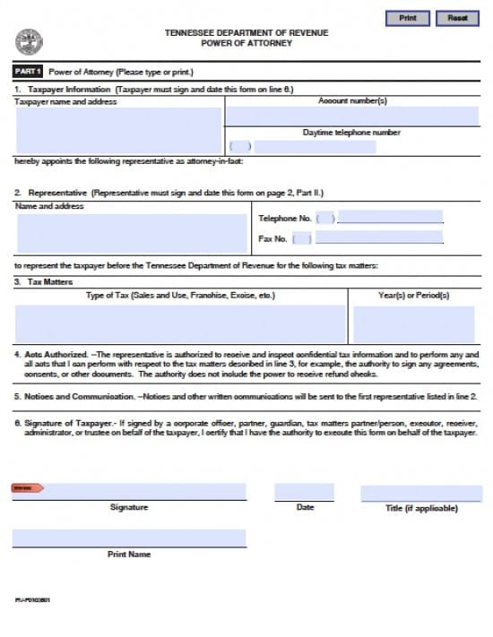 Tennessee Tax Power of Attorney Form
