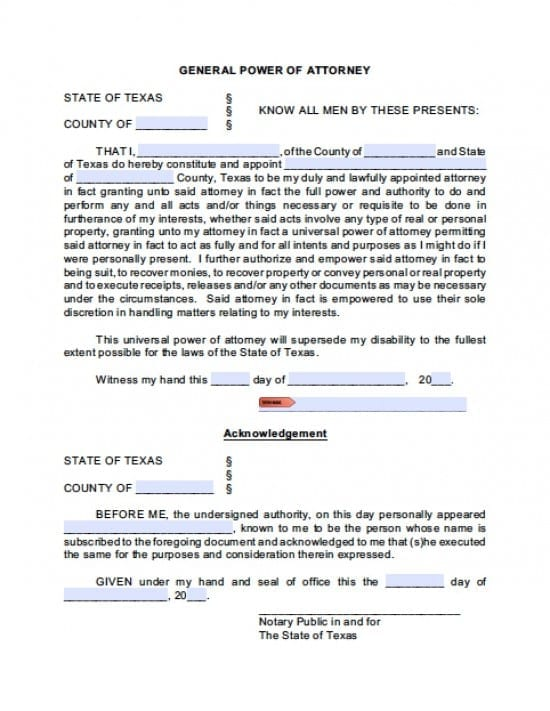 Texas General Financial Power of Attorney Form
