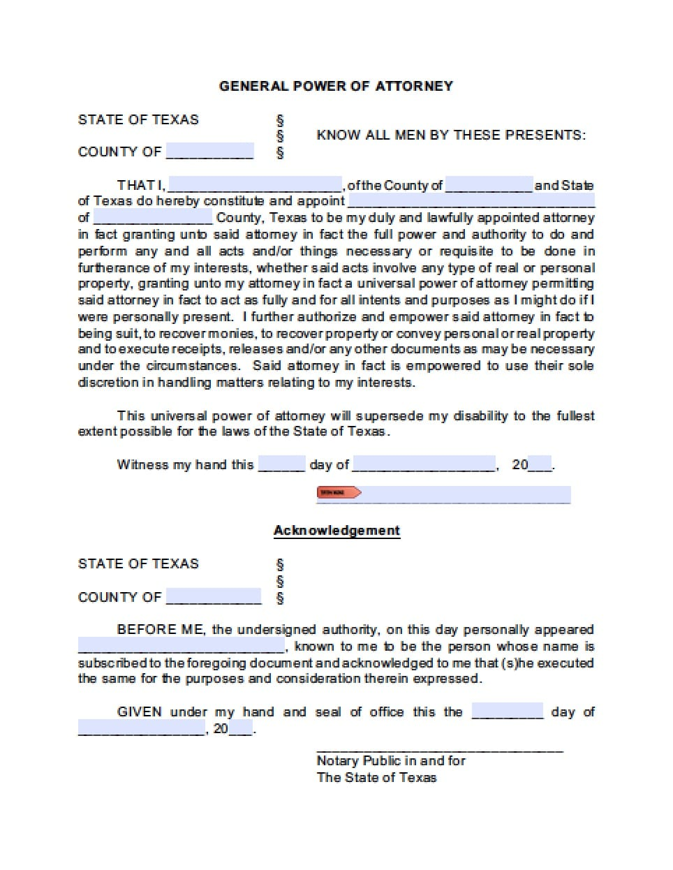 Texas medical power of attorney form power of attorney for Power of attorney for motor vehicle only