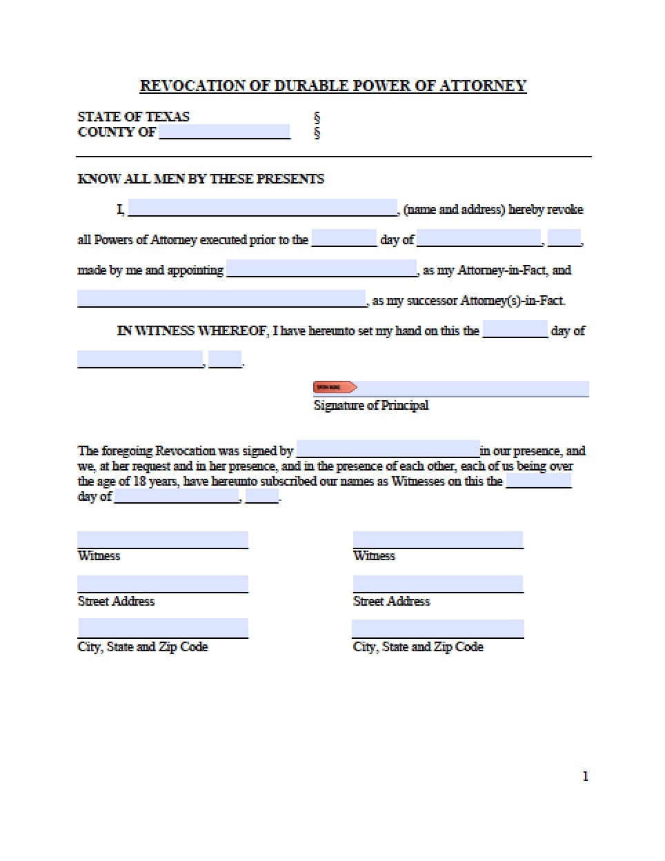 Texas Revocation Power of Attorney Form - Power of Attorney : Power