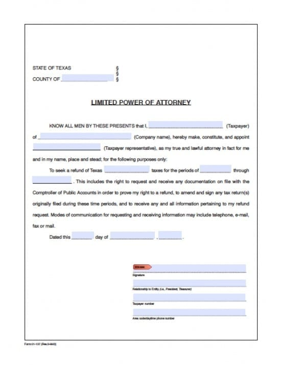 Texas Tax Power Of Attorney Form Power Of Attorney Power Of Attorney