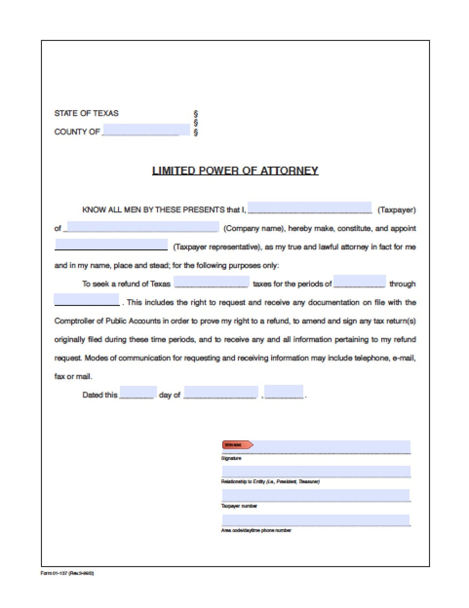 Texas Limited (Special) Power of Attorney Form - Power of Attorney ...