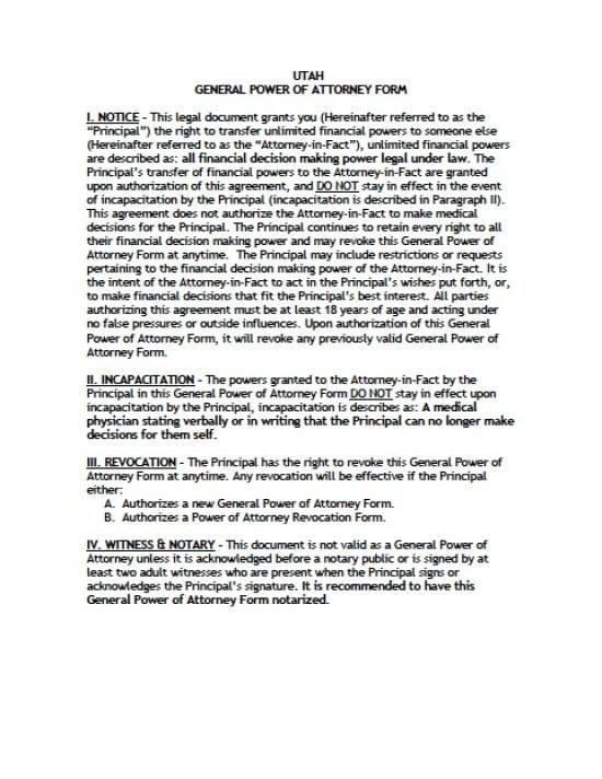 Utah General Financial Power of Attorney Form