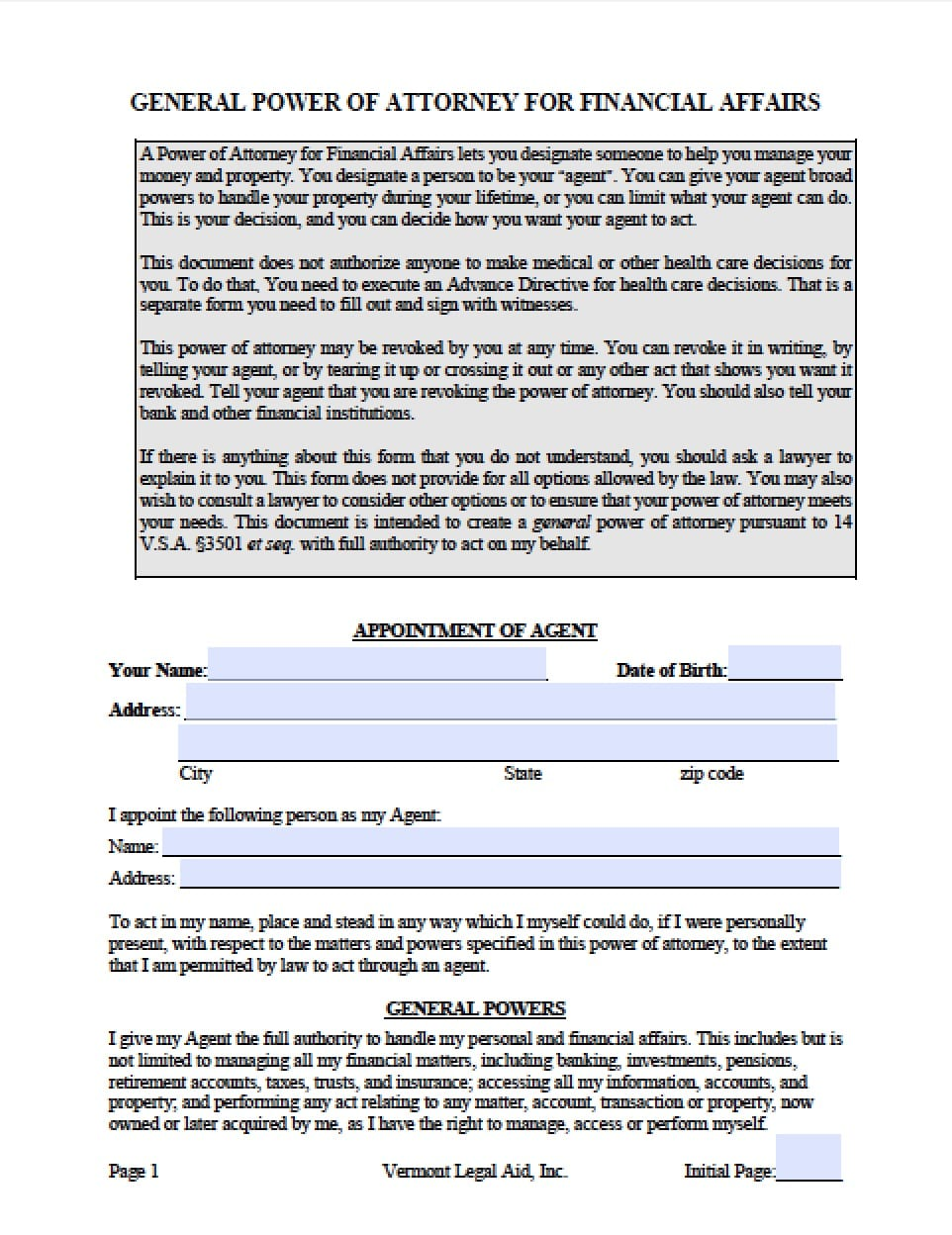 Vermont Vehicle Power of Attorney Form - Power of Attorney : Power ...