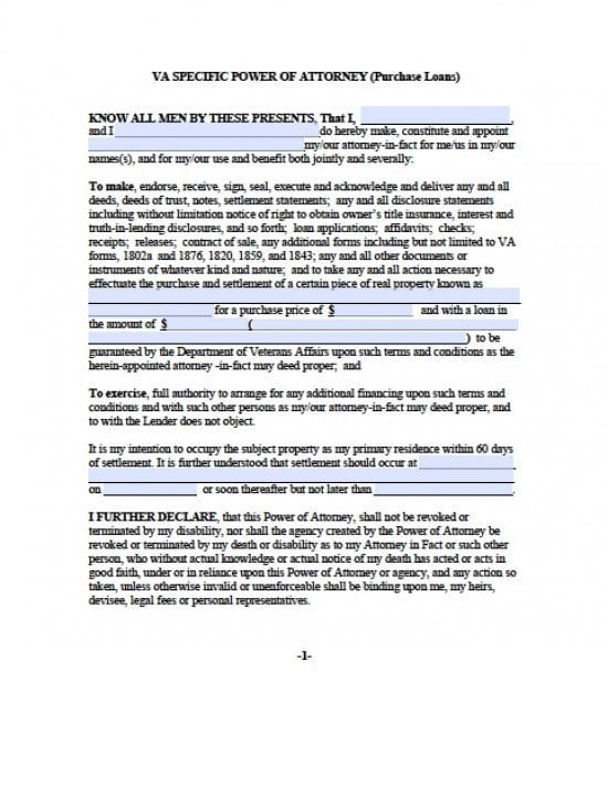 Virginia Purchase Loans ONLY Power of Attorney Form