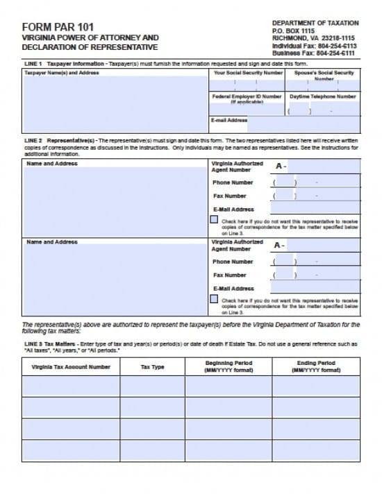Virginia Tax Power Of Attorney Form Power Of Attorney Power Of