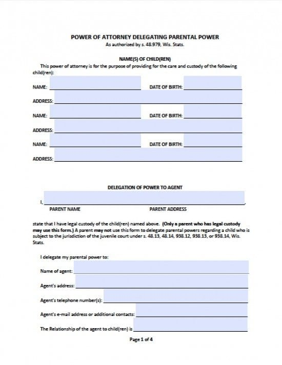 Temporary Guardianship Form Standby Guardianship Form Washington