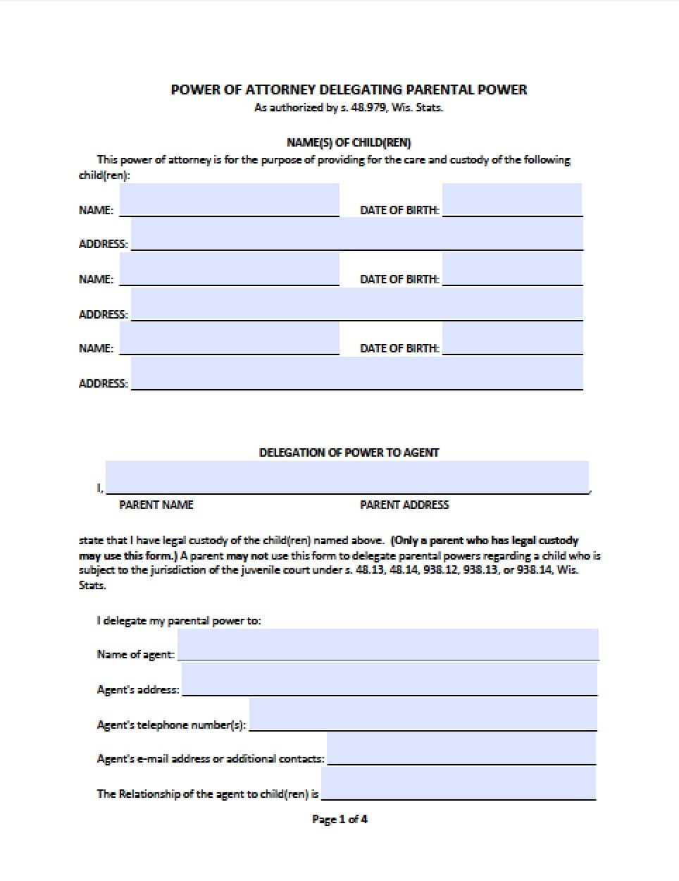 power of attorney form for child care