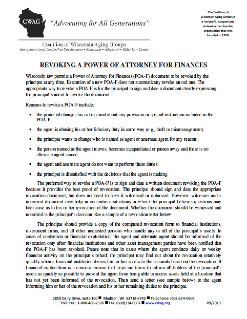 Wisconsin revocation power of attorney form power of attorney wisconsin revocation power of attorney form power of attorney power of attorney falaconquin