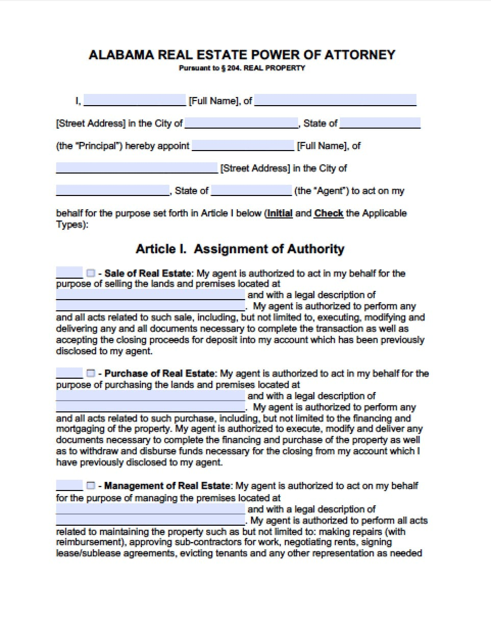 alabama power of attorney form