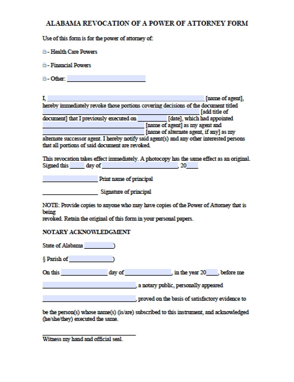 alabama revocation power of attorney form alabama durable