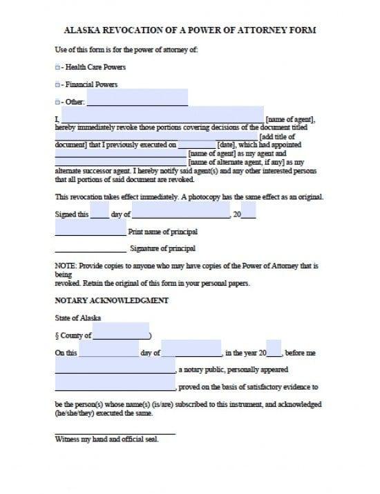 Alaska Revocation Power of Attorney Form