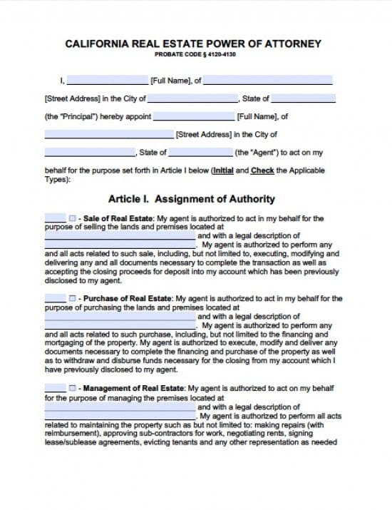 California Real Estate ONLY Power of Attorney Form