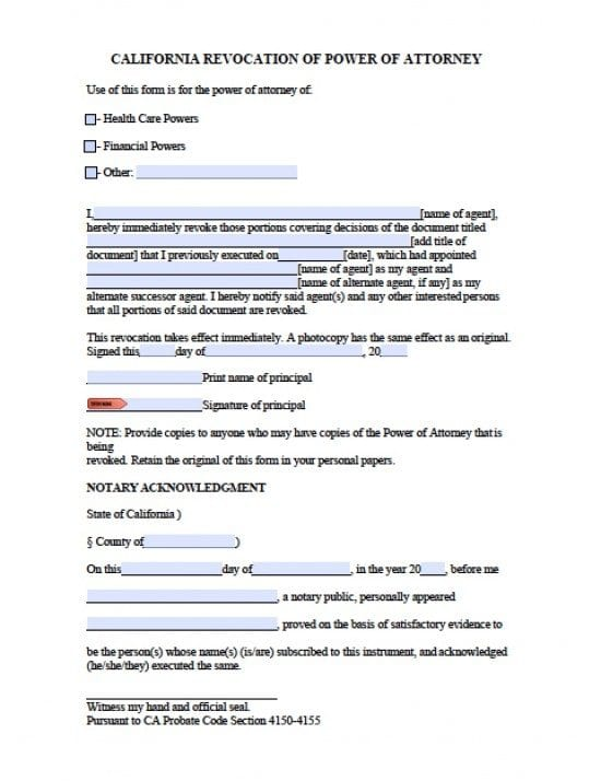California Revocation Power of Attorney Form