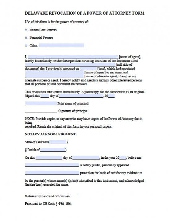 Delaware Revocation Power of Attorney Form