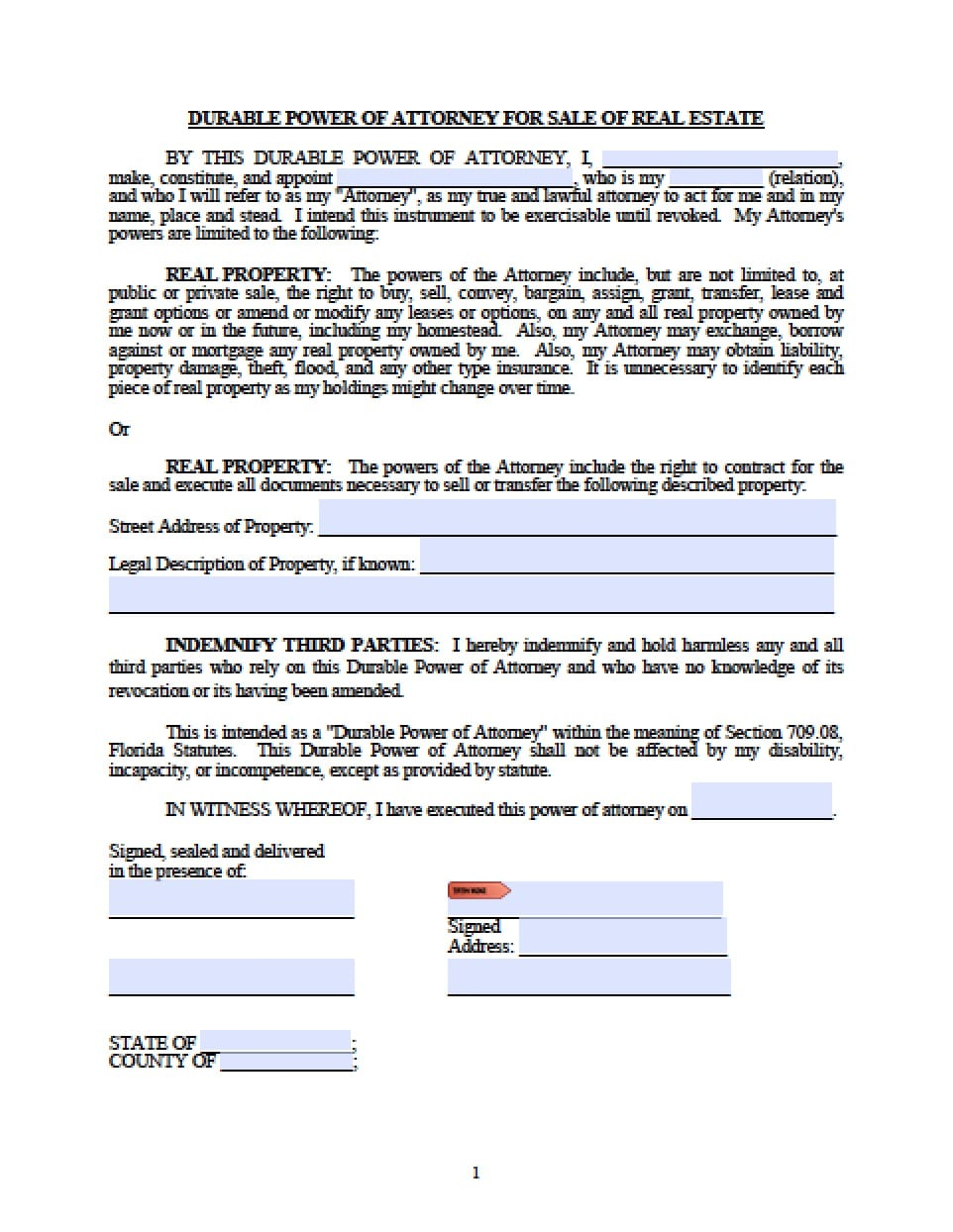 Florida Minor Child Power of Attorney Form - Power of ...