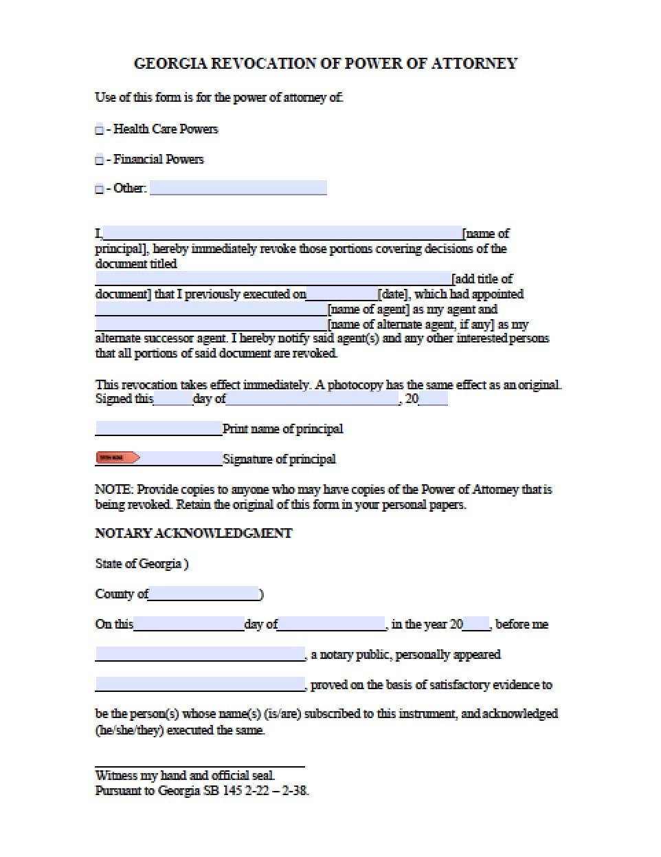 georgia revocation power of attorney form