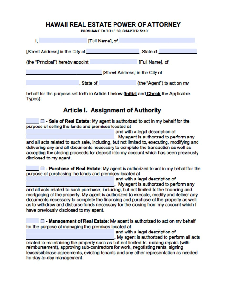 Hawaii Real Estate Only Power Of Attorney Form