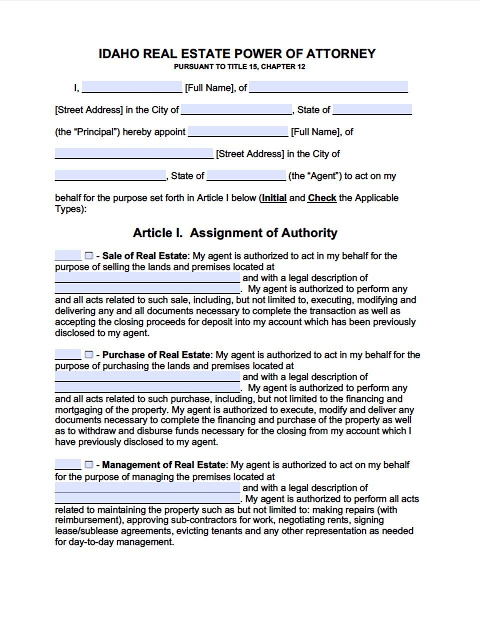 Idaho Real Estate ONLY Power of Attorney Form - Power of Attorney ...