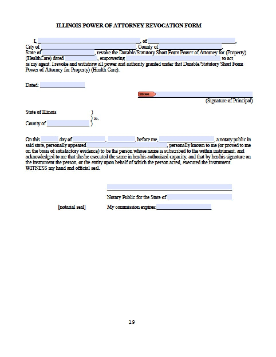 Illinois Revocation Power of Attorney Form - Power of Attorney ...