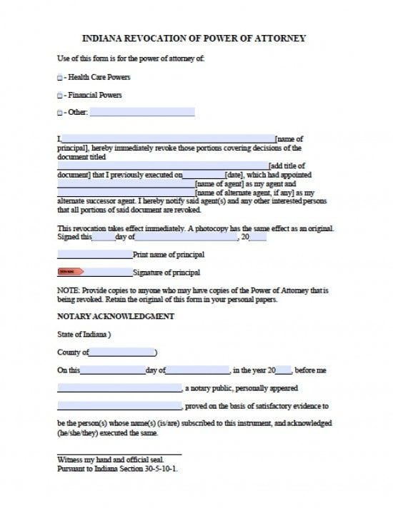 Indiana Revocation Power of Attorney Form