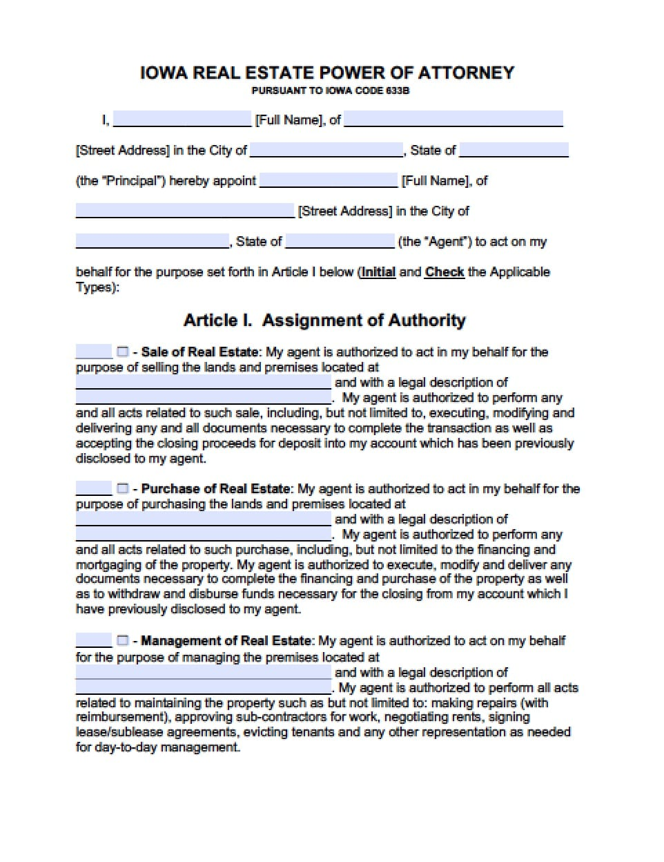 Iowa Real Estate ONLY Power of Attorney Form - Power of Attorney ...