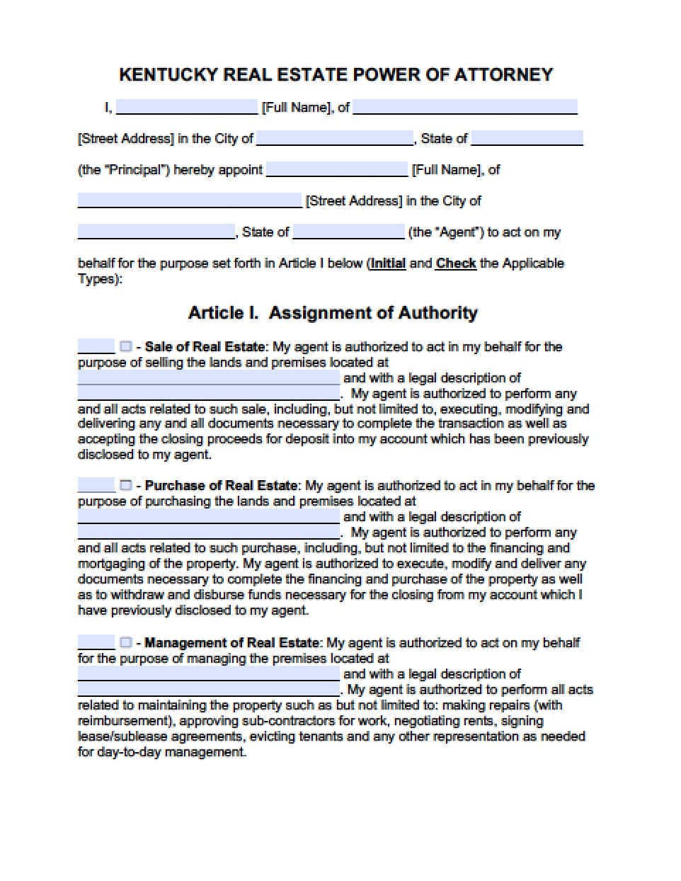 power of attorney form kentucky Kentucky Real Estate ONLY Power of Attorney Form - Power of Attorney ...