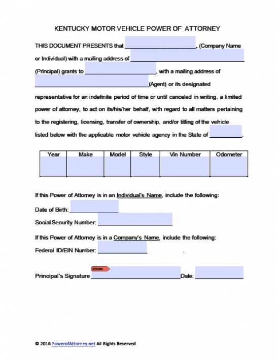 Kentucky Vehicle Power of Attorney Form