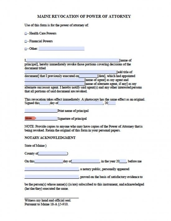 Maine Revocation Power of Attorney Form