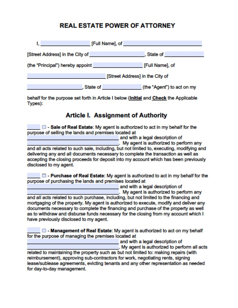power of attorney form maryland Maryland Real Estate ONLY Power of Attorney Form - Power of Attorney ...