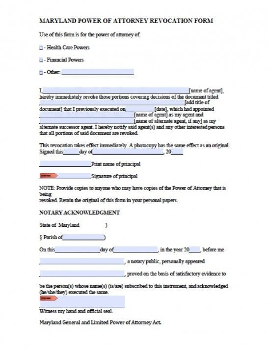Maryland Revocation Power of Attorney Form