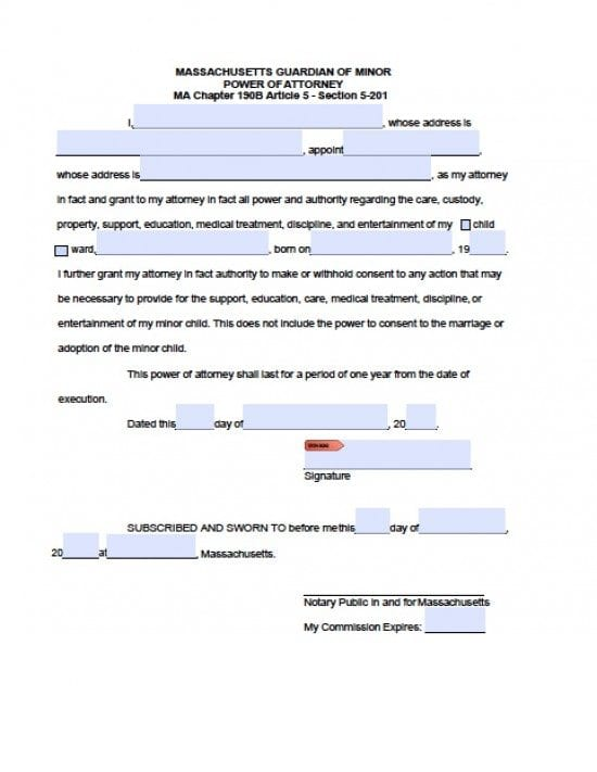 Massachusetts Minor Child Power of Attorney Form
